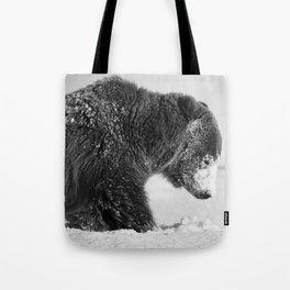 Alaskan Grizzly Bear in Snow, B & W - I Tote Bag