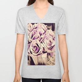 blush roses, lilac living, lilac floral, floral decor Unisex V-Neck