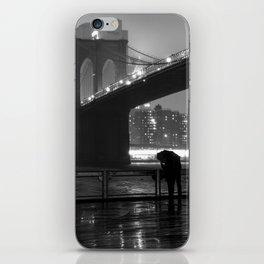 Brooklyn Bridge on a rainy night iPhone Skin