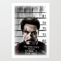 tony stark Art Prints featuring Tony Stark jailed by MkY111