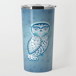 Blue ornamental owl Travel Mug