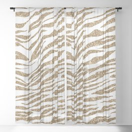 White & Glitter Animal Print Pattern Sheer Curtain