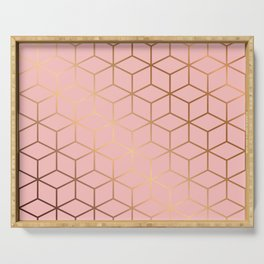 Pink and Gold Geometry 011 Serving Tray
