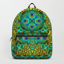 Peacock Feathers - Green Backpack