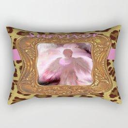 Leopard Print Breast Cancer Angel, Survivor Design Rectangular Pillow
