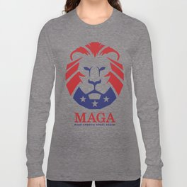 MAGA Make America Great Again USA Lion logo red Long Sleeve T-shirt