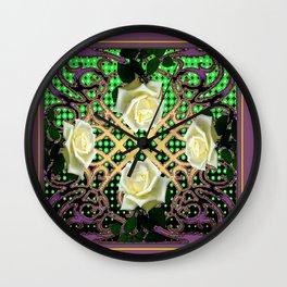 PUCE ORNATE WHITE ROSE GARDEN  TAPESTRY Wall Clock
