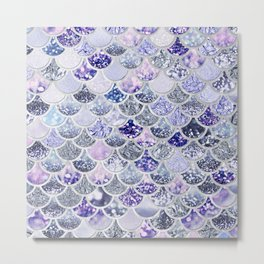 Purple and Ultra Violet Trendy Glitter Mermaid Scales Metal Print
