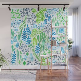 Watercolor floral doodles white Wall Mural