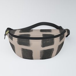 Brush Strokes Vertical Lines Black on Nude Fanny Pack