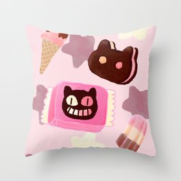 Cookie Cat! He left his family behind! Throw Pillow