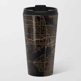 Black nd gold Des Moines map Travel Mug