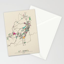 Colorful City Maps: St. John's, Canada Stationery Cards