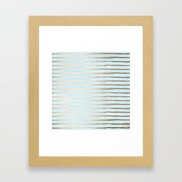 Abstract Stripes Gold Tropical Ocean Sea Turquoise Framed Art Print