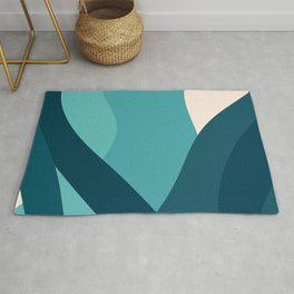 swell ocean and teal Rug