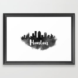 Houston Skyline Watercolor Painting Framed Art Print