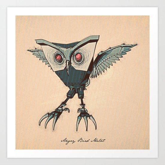 ANGRY BIRD METAL Art Print