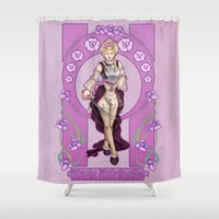 marie antoinette Shower Curtains featuring Marie Antoinette by Sara Poveda