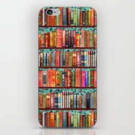 Vintage Books / Christmas bookshelf & holly wallpaper / holidays, holly, bookworm,  bibliophile iPhone Skin