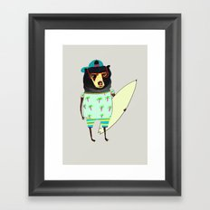 Surfer Bear. surfing art, surf decor, cool, Framed Art Print