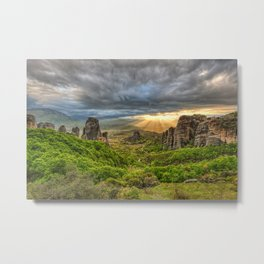 Monasteries on the top of Giant rocks seem miraculous and make Meteora one of the most spectacular places in Greece. Metal Print