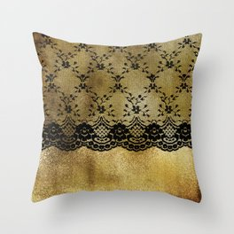Black floral elegant lace on gold metal background Throw Pillow