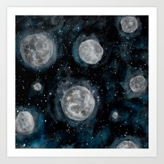 Moon Bubbles Art Print