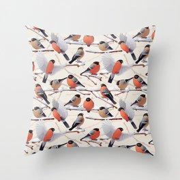Bullfinches  seamless texture Throw Pillow