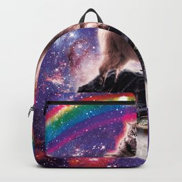 Space Cat Llama Turtle Riding Burrito Backpack