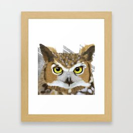Great Horned Owl & Poly Thoughts Framed Art Print