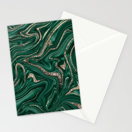 Emerald Green Black Gold Glitter Marble #1 #decor #art #society6 Stationery Cards