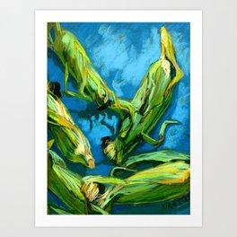 Corns on a Blue Tablecloth Art Print
