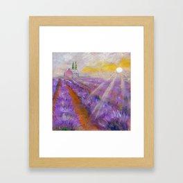 Lavender fields - abstract landscape Framed Art Print