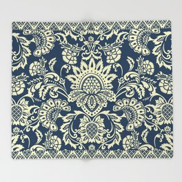 damask in white and blue vintage Throw Blanket