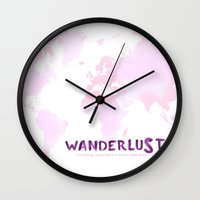 wanderlust Wall Clocks featuring Wanderlust by Anna Andretta