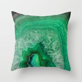 Green Emerald Agate Throw Pillow