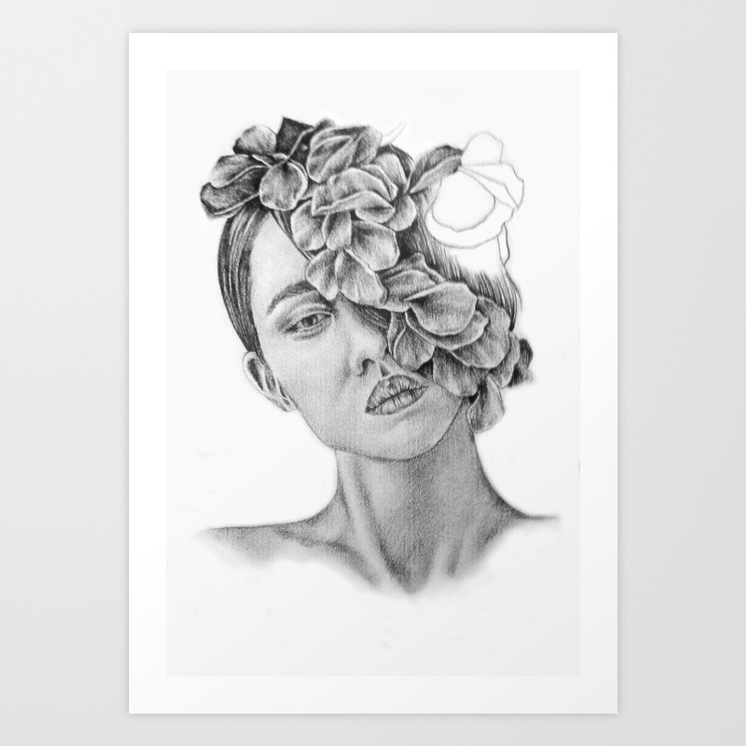 Art pencil drawing illustration portrait model flowers gift wall decor art print