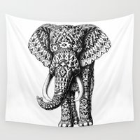 ornate elephant Wall Tapestries featuring Navajo Elephant by BIOWORKZ