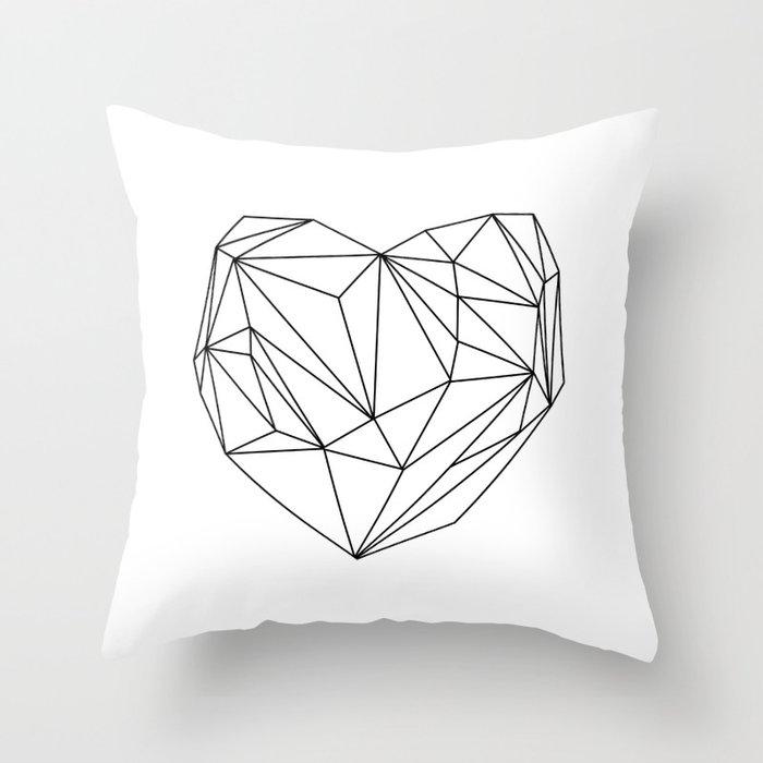 Heart Graphic (black on white) Throw Pillow