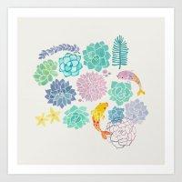 A Serene Succulent Underwater World Art Print