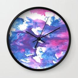 Blue pink watercolor Wall Clock