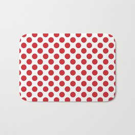 White and red polka dots Bath Mat