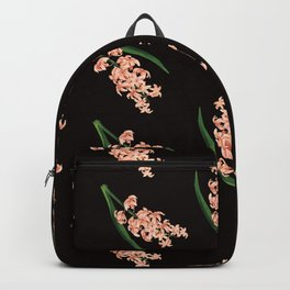 Peach Floral Toss in Black Backpack