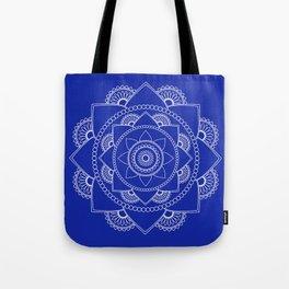 Mandala 01 - White on Royal Blue Tote Bag