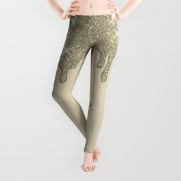 Dripping Silver Glitter Effect & Sparkles Leggings