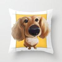 dachshund Throw Pillows featuring dachshund by joearc