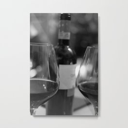 Wine bottle and glasses Metal Print