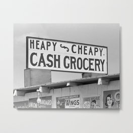 Grocery Sign, 1939. Vintage Photo Metal Print