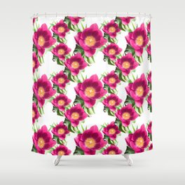 Pink Tulip Pattern, Bright Large Fuchsia Flowers With Yellow Center and Green Leaves Shower Curtain
