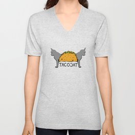 Tacocat Two-Headed Cat Taco with Lettering Unisex V-Neck